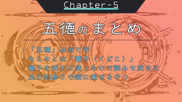 チャプター5:五徳のまとめ|五徳は当て字/もともとは竈子(くどこ)/竈子を逆さに使ったので読みも逆さに/丑の刻参りで頭に乗せるやつ